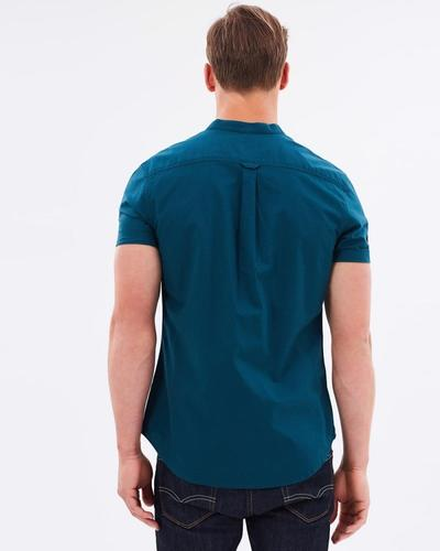Teal Oxford Grandad Collar Shirt